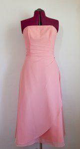 Raylia Designs Coral Strapless Tea Length Ruched Waist Lined Dress