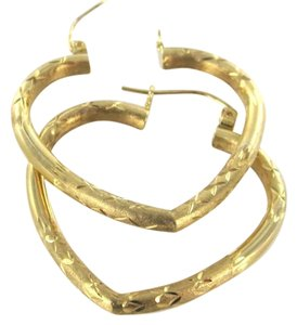 14KT SOLID YELLOW GOLD EARRINGS KARAT VALENTINES HEART HOOP DIAMOND CUT LOVE