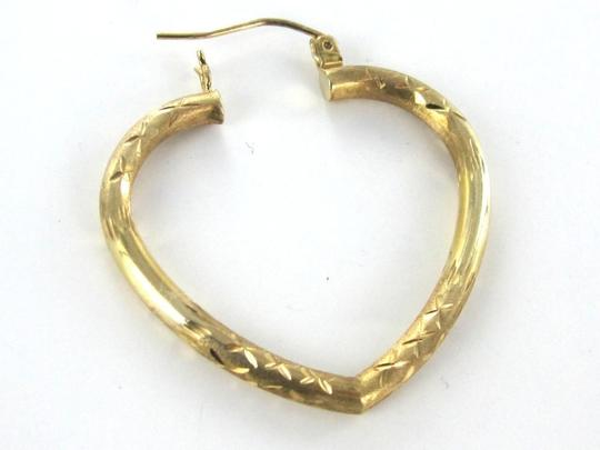 Other 14KT SOLID YELLOW GOLD EARRINGS KARAT HEART HOOP DIAMOND CUT LOVE