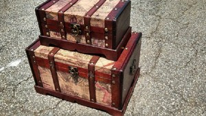 Old World Map Wooden Trunk In Antique Cherry Set Of 2