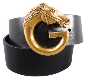 Gucci GUCCI Black Gold Horse G Buckle Belt