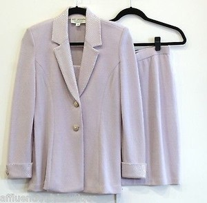 St. John St. John Evening Pale Lavender Knit Skirt Suit
