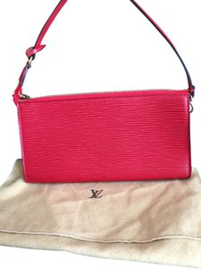 Louis Vuitton Eli Leather Pochette Red Clutch