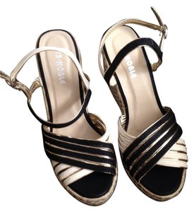 Ts noble New Black White Sandal Wedges