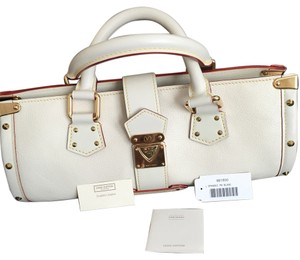Louis Vuitton Studded Satchel in white