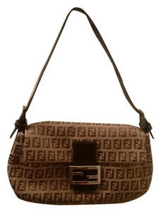 Fendi Monogram Logo Canvas Baguette