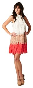 Minuet Petite short dress Ivory/Tan/Coral on Tradesy