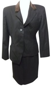 Christian Dior Christian Dior 2 Piece Skirt Suit Maroon and Black Stripe Size 12