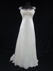 Romona Keveza Diamond White Silk Organza Sheath Gown with Hand Beaded Tulle Train Wedding Dress Size 8 (M)