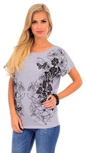 Allison Brittney Floral Grey Black T Shirt lilac