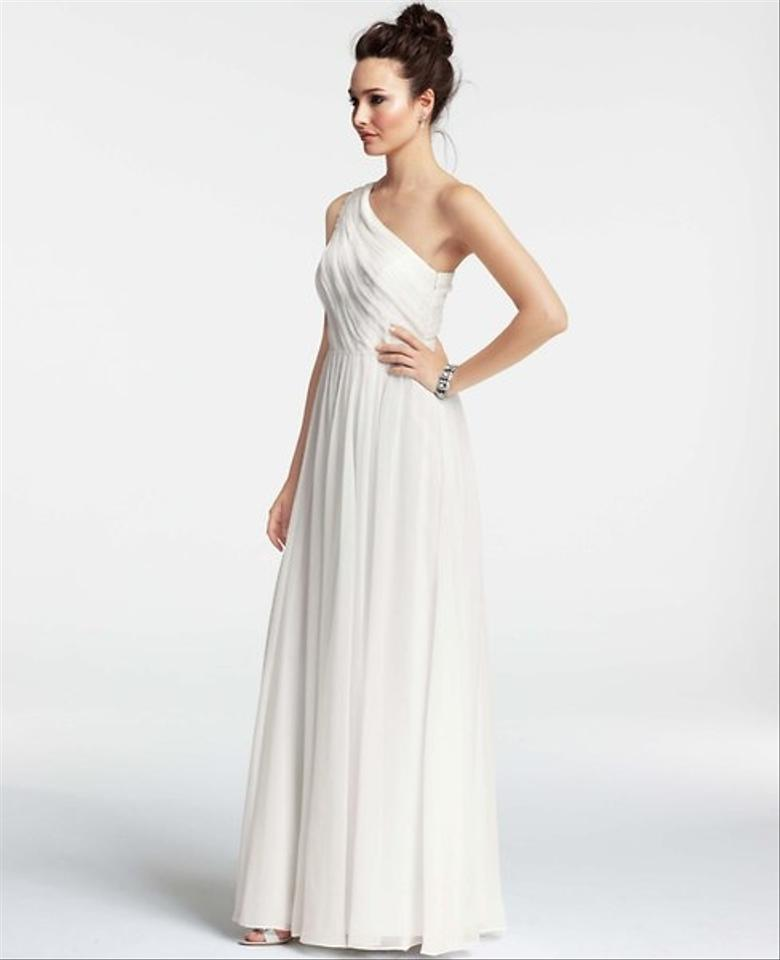Ann taylor silk georgette pleated one shoulder gown for Anne taylor wedding dress