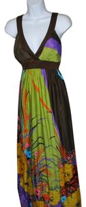 Multi-color & Brown , Green - Purple Maxi Dress by Fifth Culture Color Block With A Cascading Flower Floral Size M Bust-32