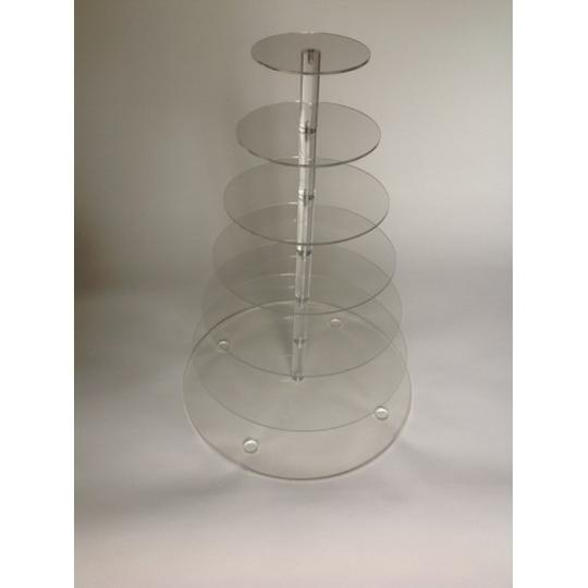 Clear 7 Tier White Round Acrylic Cupcake Stand Tree Tower Cup Cake Display Dessert Tower Reception Decoration