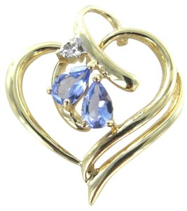 10K KARAT SOLID GOLD 2.3 GRAMS IOLITE 1 DIAMOND HEART PENDANT LOVE GIFT JEWELRY