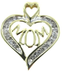 Other 10K KARAT SOLID GOLD 2.4 GRAMS MOM 17 DIAMOND HEART PENDANT HAPPY MOTHERS DAY