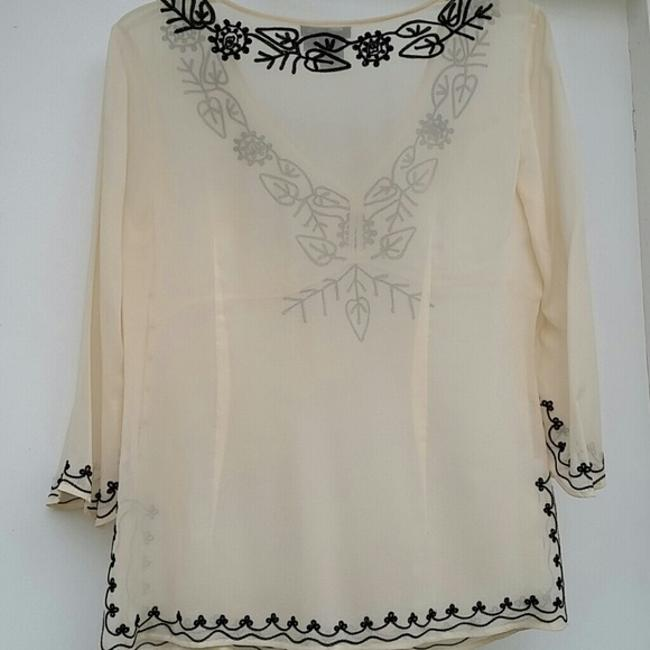BCBGMAXAZRIA Sheer Embroidered Silk Top Cream/Black