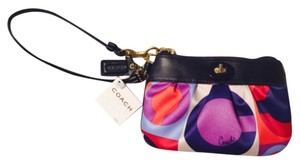 Coach Pattern Leather Pink Purple Wristlet in Multi
