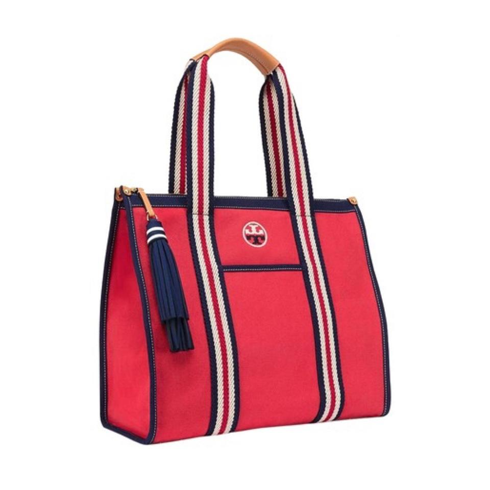 c75ccdbfe19 Tory Burch Embroidered T Embroidered-t Cherry Apple Canvas Tote ...