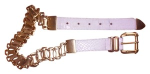 Street Ahead Street Ahead Belt croc embossed White leather with chain