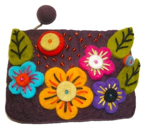 Nepalese felted wool coin purse wristlet
