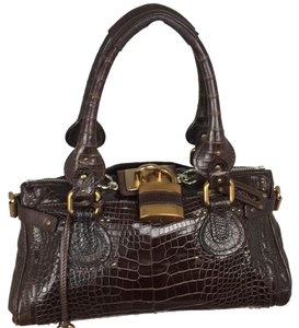 Chloé Crocodile Exotic Leather Satchel in Chocolate
