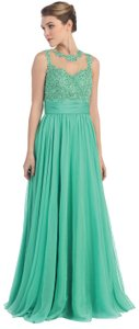 Fuchsia, Green Lace Bust Full Length Floral Formal Dress