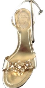Rene Caovilla Crystal Italian Leather gold Sandals