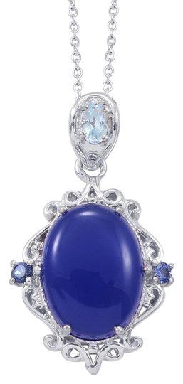 Unknown Blue Chalcedony, Sky Blue Topaz, Blue Sapphire Pendant