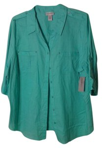 Catherines Button Down Shirt Teal