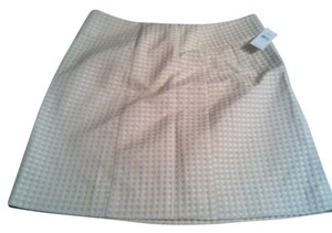 Ann Taylor LOFT Mini Skirt beige with neon yellow polka dots