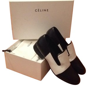 Céline New With Box Black And White Loafers Leather White/black Flats