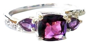 Other Natural 1.27ctw. Amethyst Three Stone 925 Sterling Silver Ring Size 8