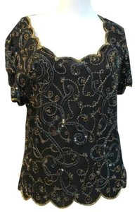 Marina Embellished Evening Formal Top BLACK