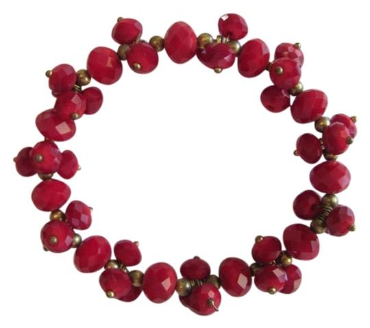 Other MANY FACETED GLASS RED BEAD BRACELET
