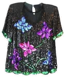 ROYAL FEELINGS Embellished Evening Cocktail Silk Top