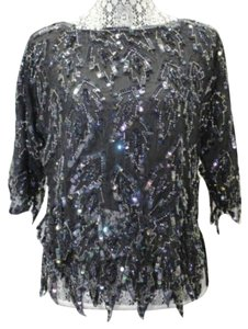 Scala Embellished Evening Silk Top BLACK