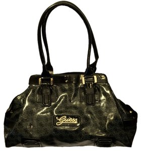 Guess Jacquard Vinyl Satchel in Charcoal & Black