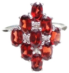 ORANGE MOZAMBIQUE GARNET 925 SILVER RING SIZE 8