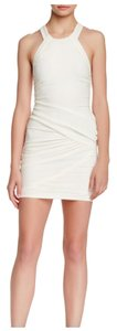 IRO Charlie Mini Sleeveless White Mid Knee Ruched Dress