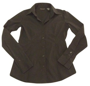 New York & Company Professional Attire Interview Attire Long Sleeved Button Down Shirt Black