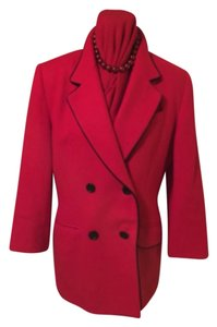 Oleg Cassini Top Red with Black Piping