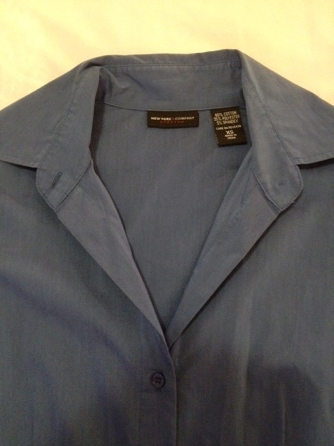 New York & Company Professional Attire Interview Attire Longsleeve Button Down Shirt Blue