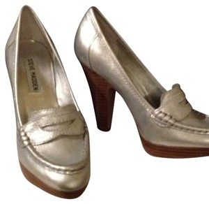 Steve Madden Loafers Penny Loafer Penny Loafer Penny Loafers Heels Metallic Oldiee Lea Silver Platforms