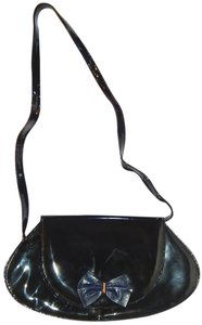 Bally Crossbody Patent Leather Vintage Evening Navy Clutch