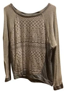 Chloe K Gray Lace Sweatshirt 12 Sweater