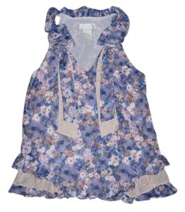 MM Couture Ruffled Floral Small Sleeveless Miss Me Blouse Top Pastels