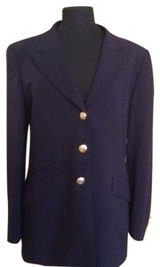 Escada Size 10 Navy Jaket Casual Desighner Black Blazer