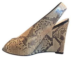 Céline Open Toe snake skin Wedges