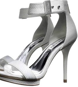 Jennifer Lopez Ankle Strap Stilletto Heel Snakeskin Print Christmas Gift white Sandals