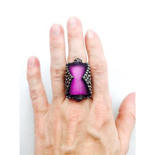 Alexis Bittar Alexis Bittar Purple Lucite And Crystal Ring Size 6.5 Image 2